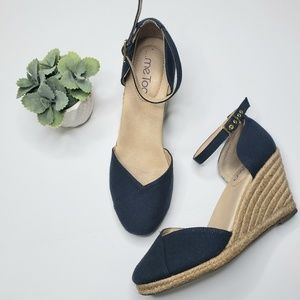 Shoes - Me Too Blakely Navy Wedge Espadrilles Sandals
